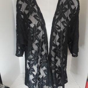 LuLaRoe Black Flower Lace Kimono Sz S
